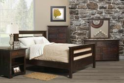AMISH ~ RUSTIC PINE ~ CUSTOM FINISHED ~ KING SIZE RAIL BED ~