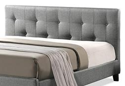 Baxton Studio Annette Gray Linen Modern Bed with Upholstered