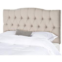 Safavieh Axel Taupe Linen Upholstered Tufted Headboard