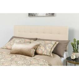 Bedford Tufted Upholstered Twin Size Headboard in Beige Fabr