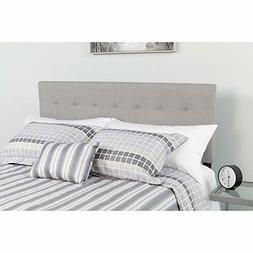 Bedford Tufted Upholstered Twin Size Headboard in Light Gray