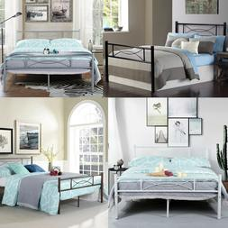 Bedroom Full Metal Bed Frame Platform Base Mattress Foundati
