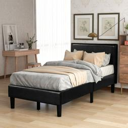 Twin Size Wood Bed frame PU Upholstered Platform Bed w/Stron