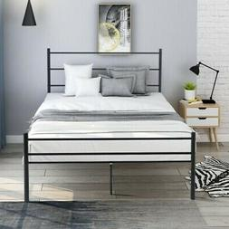 Black Metal Platform Bed Frame with Headboard and Footboard