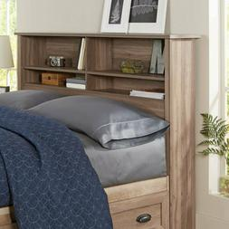 Brown Rustic Wood Bookcase Headboard With Storage Shelf For