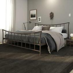 Brushed Bronze Sturdy Metal King Size Bed Frame Curved Headb