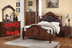 Button Tuft Headboard 1 Piece Cal King Size Bed For Bedroom