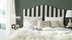 Safavieh Connie Black and White Stripe Upholstered Camelback