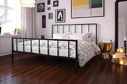 DHP Stella Metal Bed with Sturdy Metal Frame and Slats, Blac