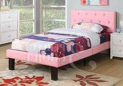Poundex Faux Leather Upholstered Twin Platform Bed in Pink