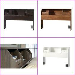 Full Queen Headboard Wood Storage Shelves Small Space Booksh