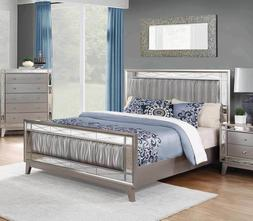 GLAM GRAY GREY METALLIC FINISH LEATHERETTE QUEEN BED BEDROOM