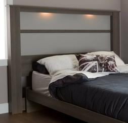 South Shore Gloria Headboard with Lights, King 78-Inch, Gray