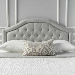 Hecha Tufted Light Gray Fabric Full/Queen Headboard with Nai