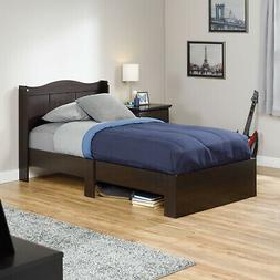Kid's Wooden Platform Bed Frame With Headboard Bed Foundatio