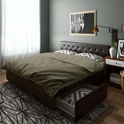 King Size Bed Frame with Storage 4 Drawers Tufted Headboard