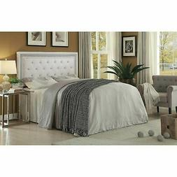King Size Contemporary Headboard Buttoned Tufted White Lethe
