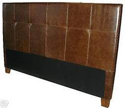 King Size Genuine Leather Headboard for bed in Tobacco Brown