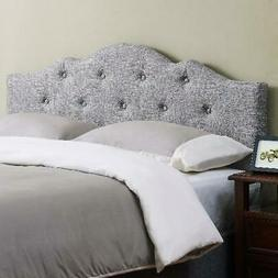 King Size Minimal Tufted Bed Headboard Rounded Gray Fabric F