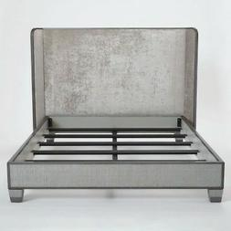 King Textured Silver Gray Velvet Contemporary Bed |  Modern
