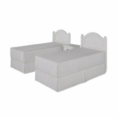 2 twin headboards and nightstand in white