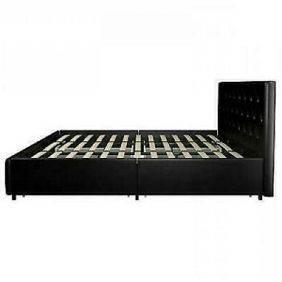 Contemporary King Size Bed Frame With Storage Drawers Black
