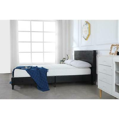 full size faux leather platform bed frame