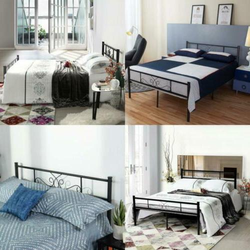 SimLife Full Size Metal Bed Frame with Headboard and Footboa