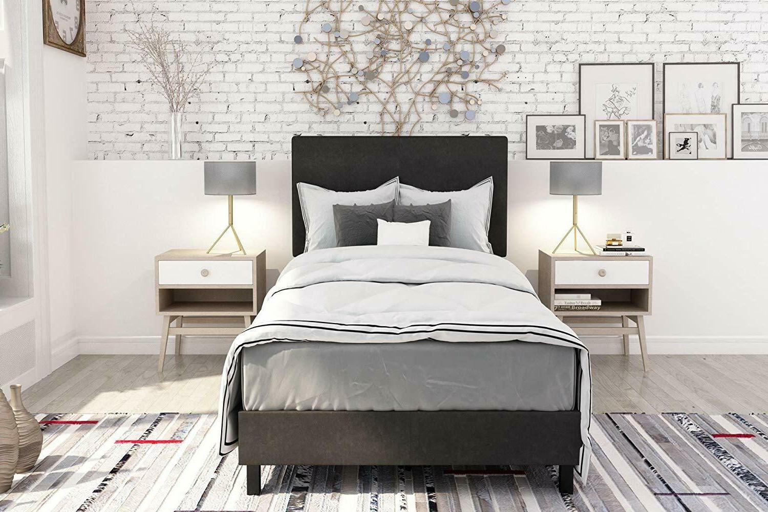 Dhp Janford Bed With Chic Upholstered Headboard, Black Faux Leather,