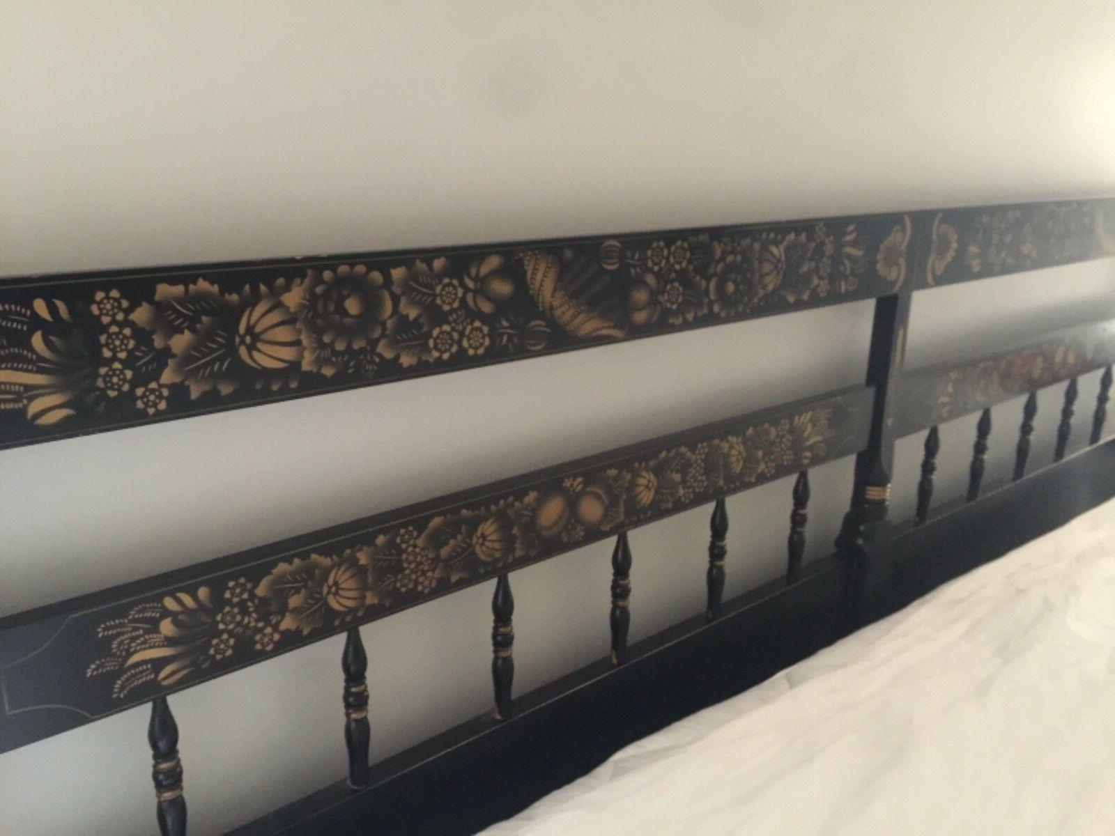 king headboard black with signature gold stamped