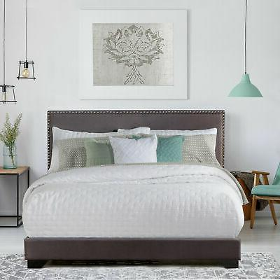 king size upholstered bed frame with wood