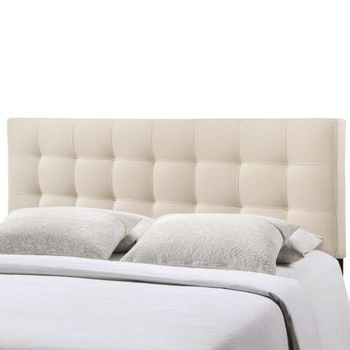 Modway Lily Upholstered Tufted Linen Fabric Full Headboard S