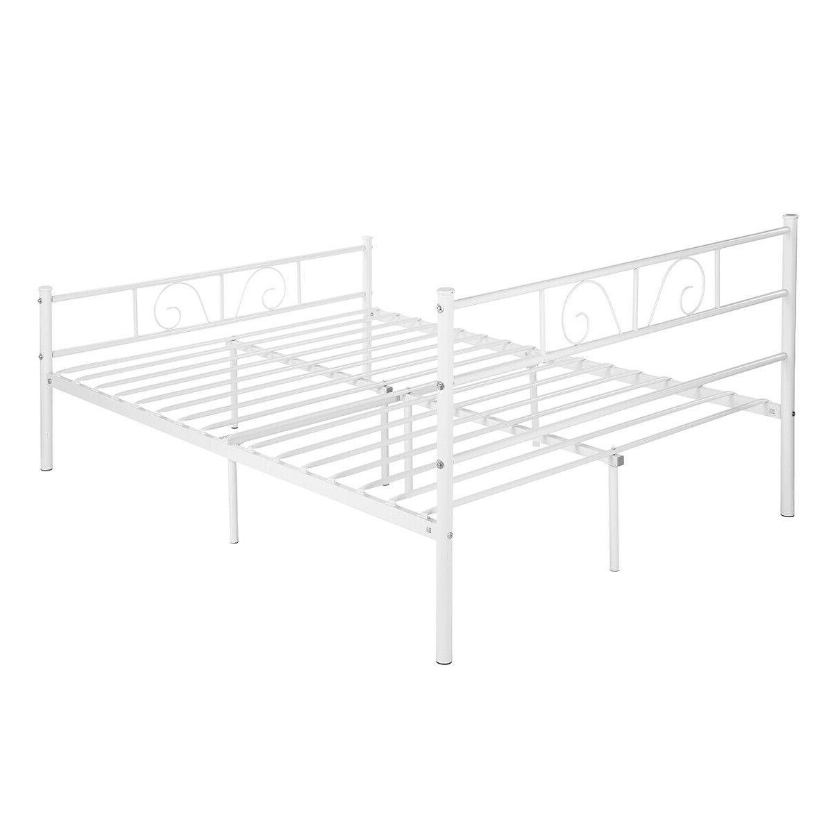 Metal Full Size Frame Foundation w/ Headboard and White