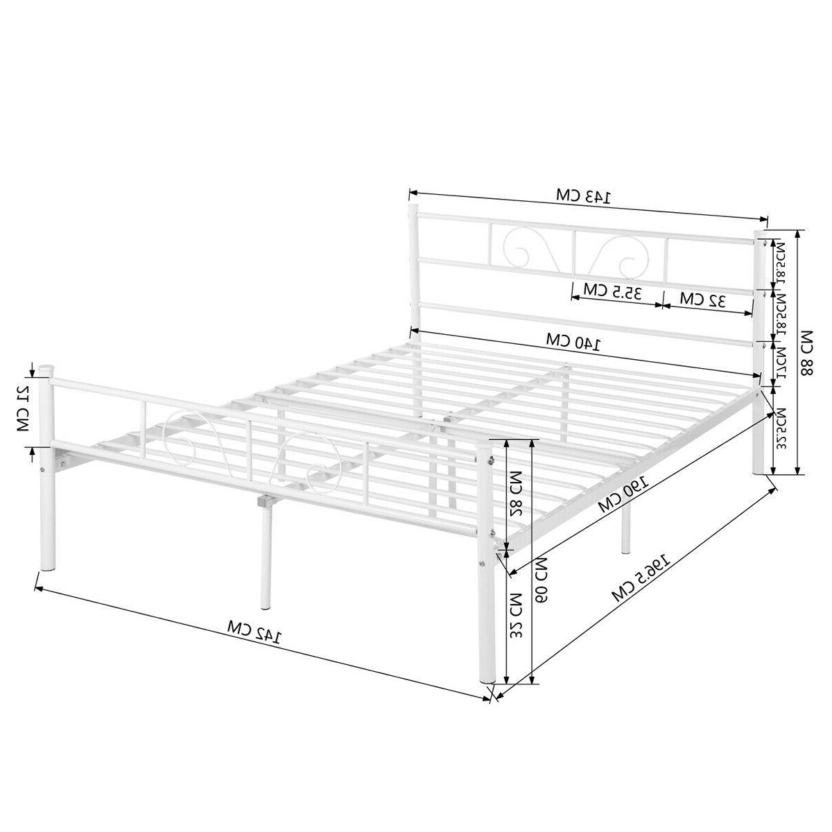 Metal Full Bed Headboard and White