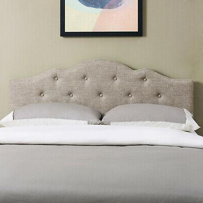 King size Bed Headboard Tufted Rounded Adjustable Height Pad