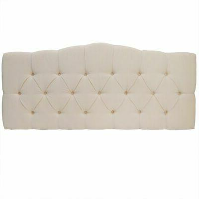 Beige Fabric Curved Bed