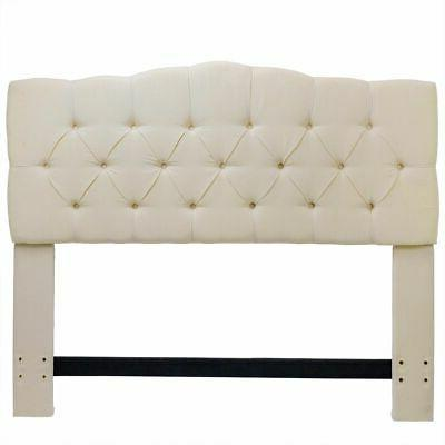 Queen Full Panel Beige Fabric Tufted