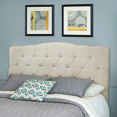 Queen or Full Size Upholstered Headboard Bed Frame Button Tu