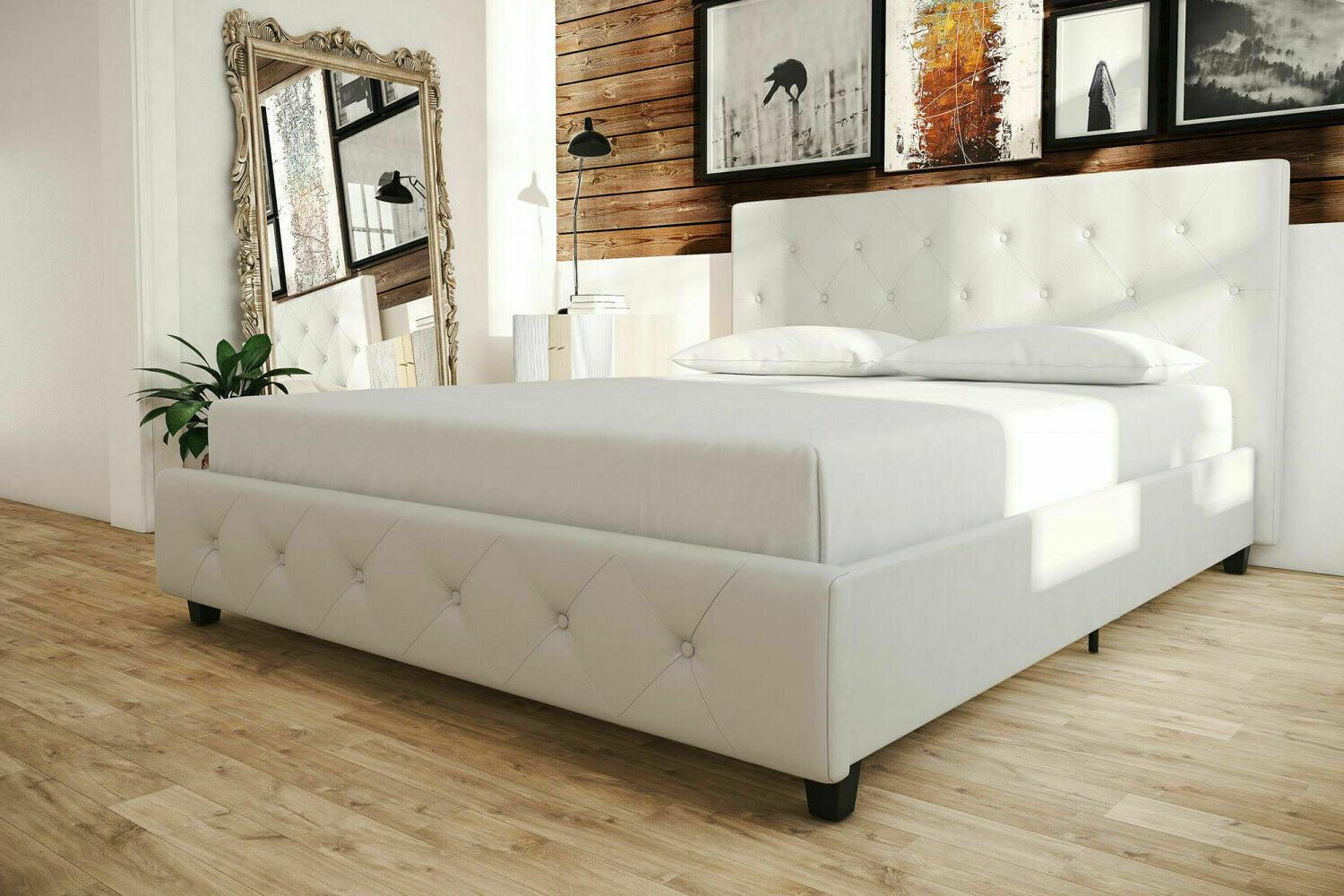 Queen Leather Bed Frame Tufted