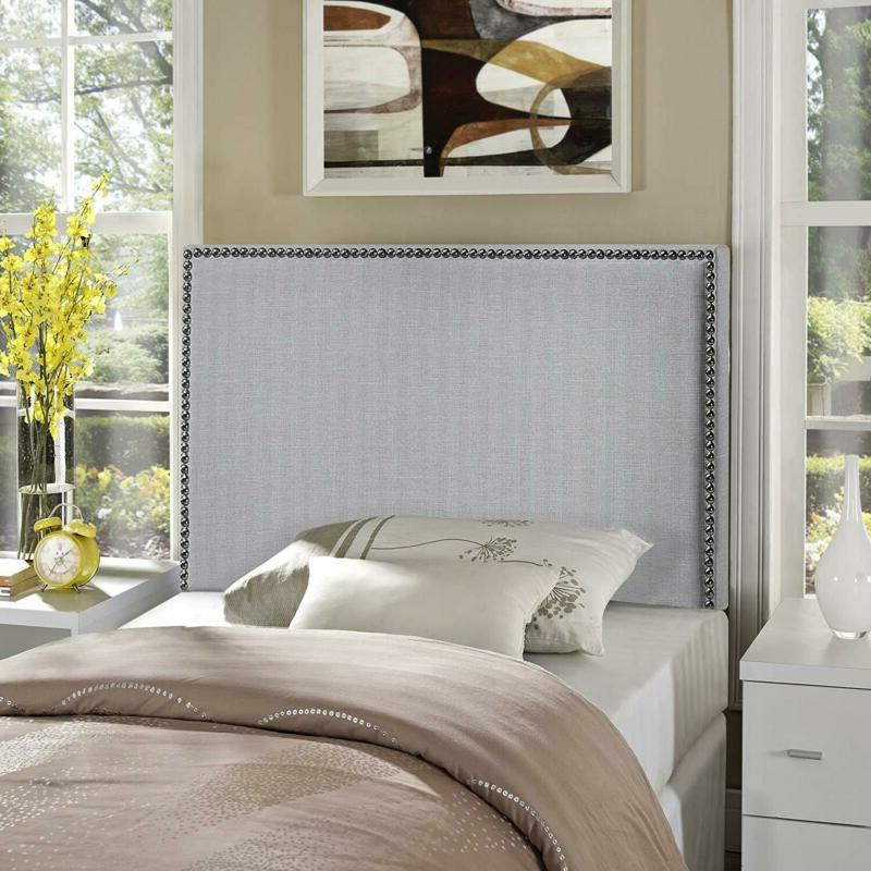 Modway Region Linen Fabric Upholstered Twin Headboard In Gra