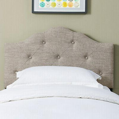 Rounded Height Bed Headboard Button Tufted