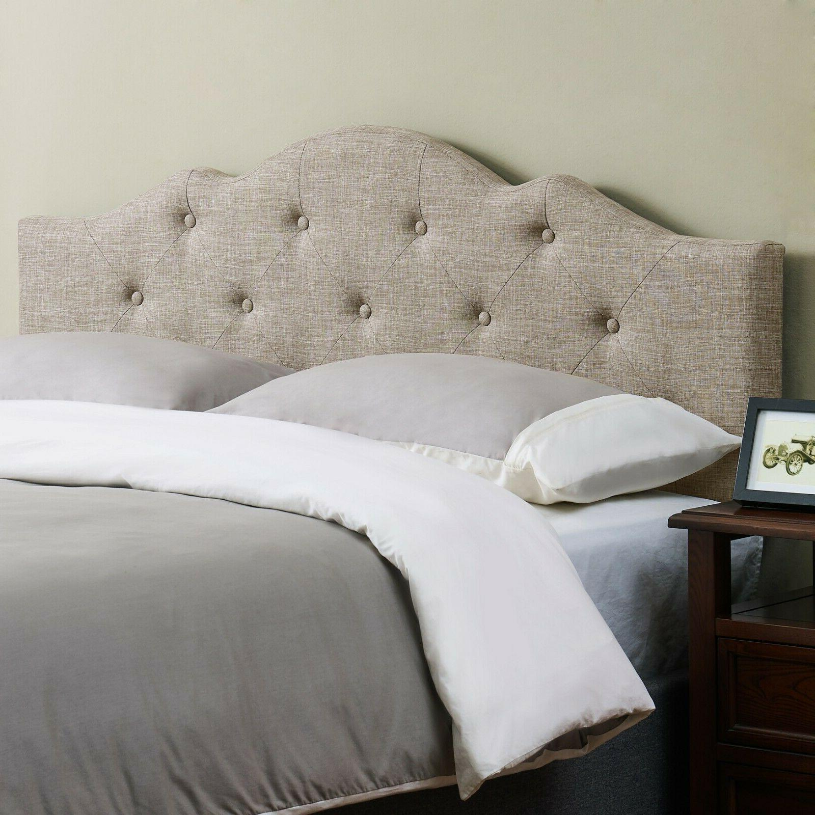 Rounded Upholstered Headboard Bed Tufted Full Queen California King
