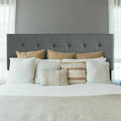 Tufted Linen Fabric Upholstered Queen&Full Size Headboard He