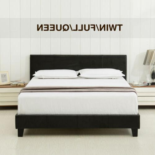 twin full queen faux leather platform bed