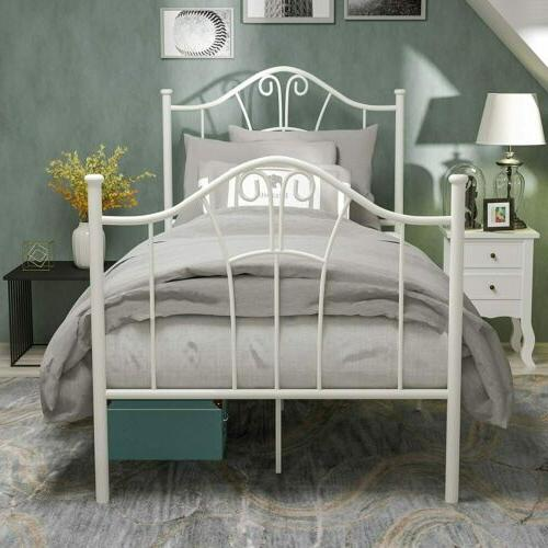 Twin XL Metal Bed Frame with Curved Headboard Footboard Bedr