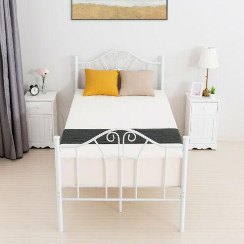 White Bed Frame with Curved Headboard Footboard
