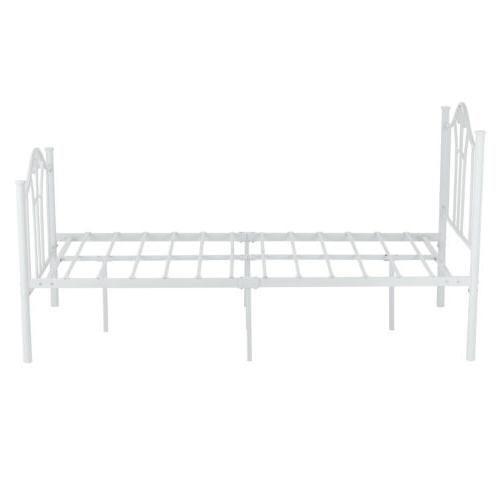White Twin Metal Bed with Curved Headboard Bedroom