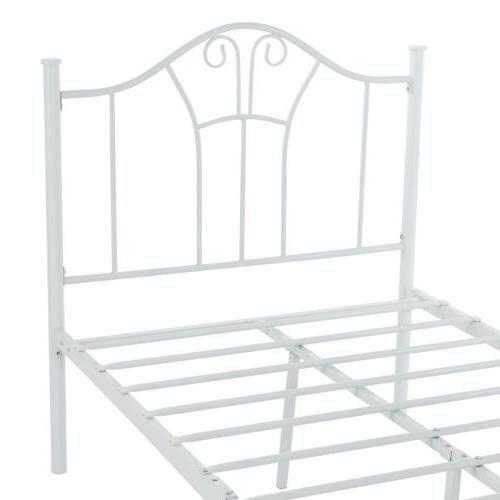White Twin XL Bed Curved Headboard