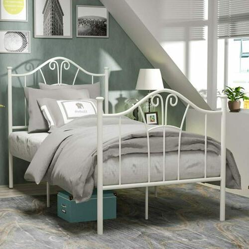 White Bed with Curved Headboard