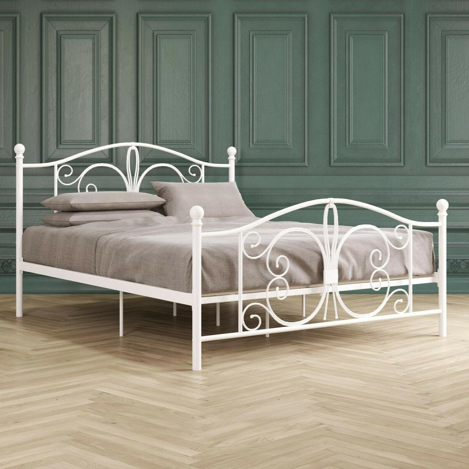 White Metal Platform Bed Butterfly KING size